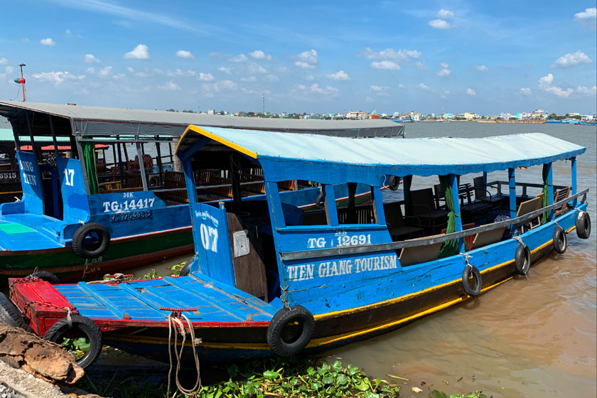Colorful boats used to cross Mekong Delta in Vietnam