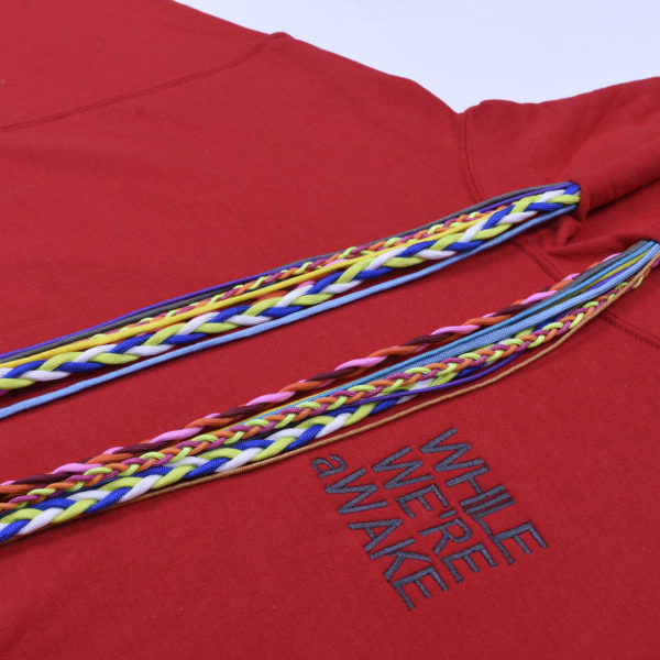 SOLID RED MULTI STRING HOODIE CLOSE UP