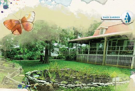 graphic of rain garden in front of a log home