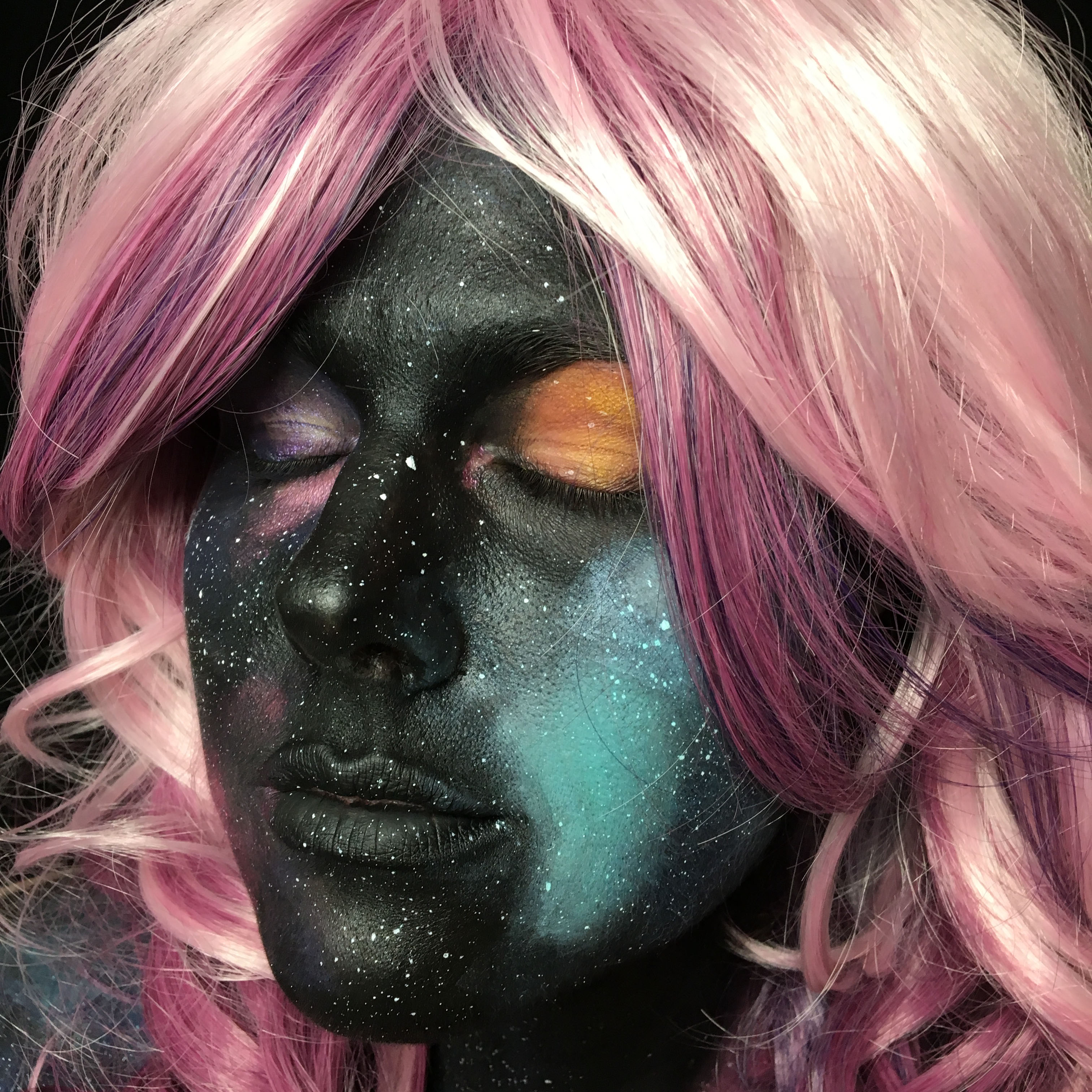 girl in space galaxy makeup