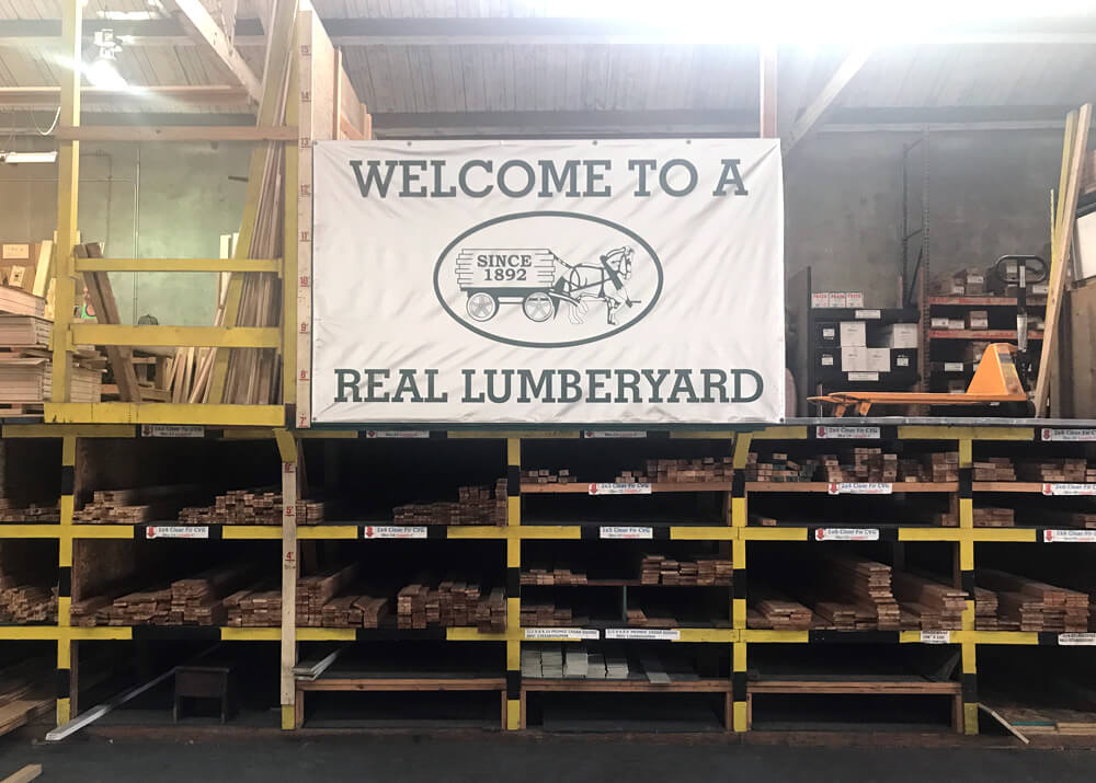 """Welcome to a Real Lumberyard"" sign"