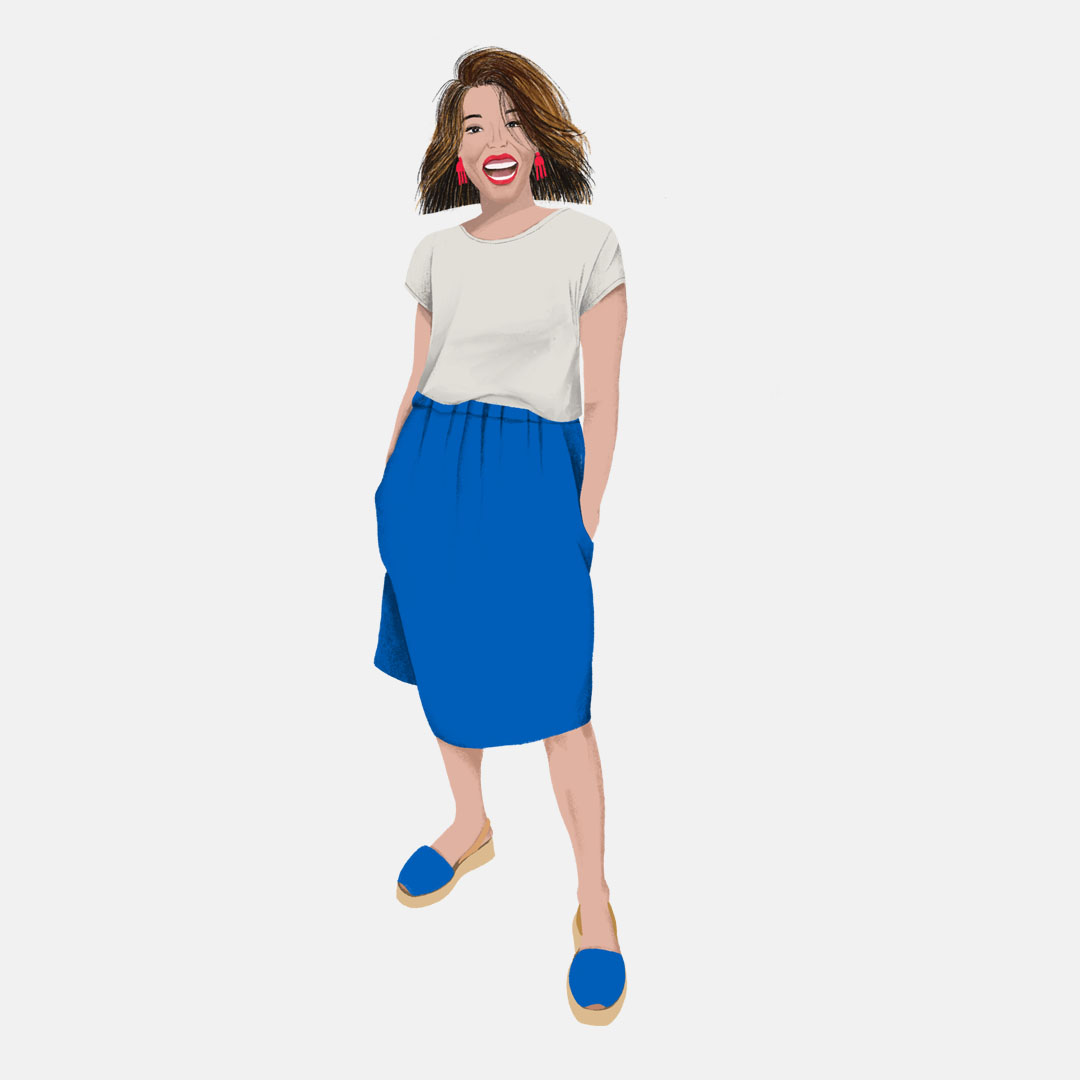 Fashion Illustration of a woman in a blue skirt