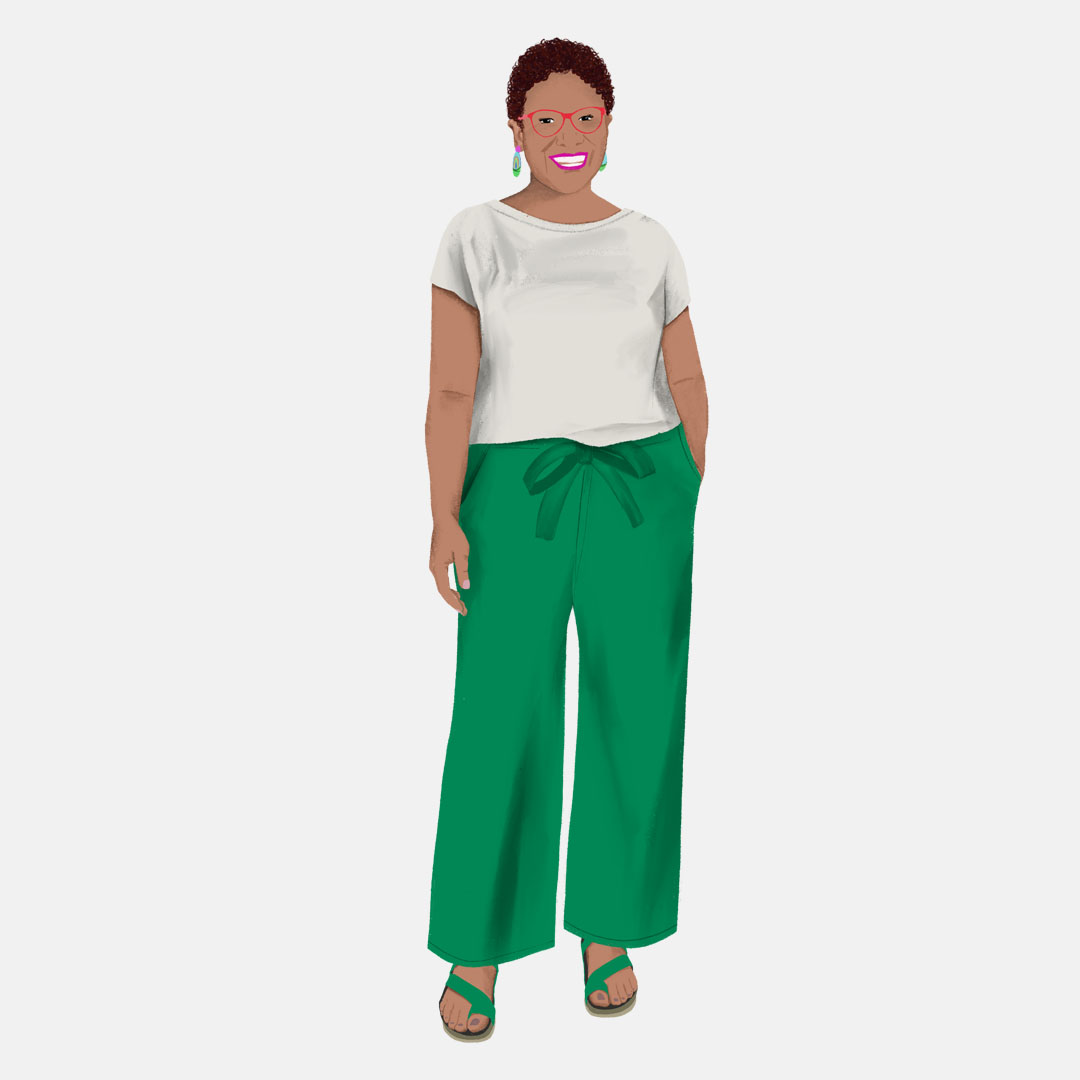Fashion Illustration of a woman in a green pants