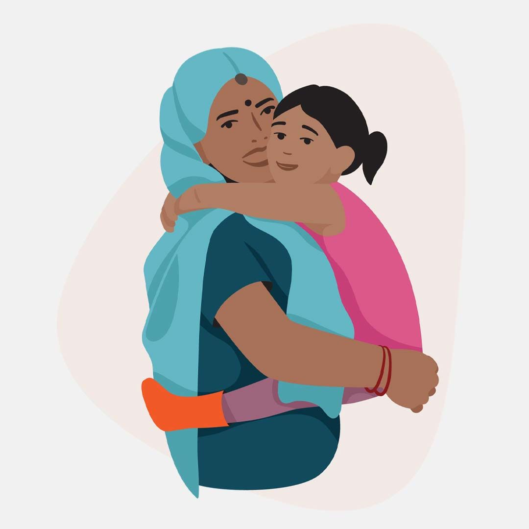 Illustration of a mother holding her daughter and hugging