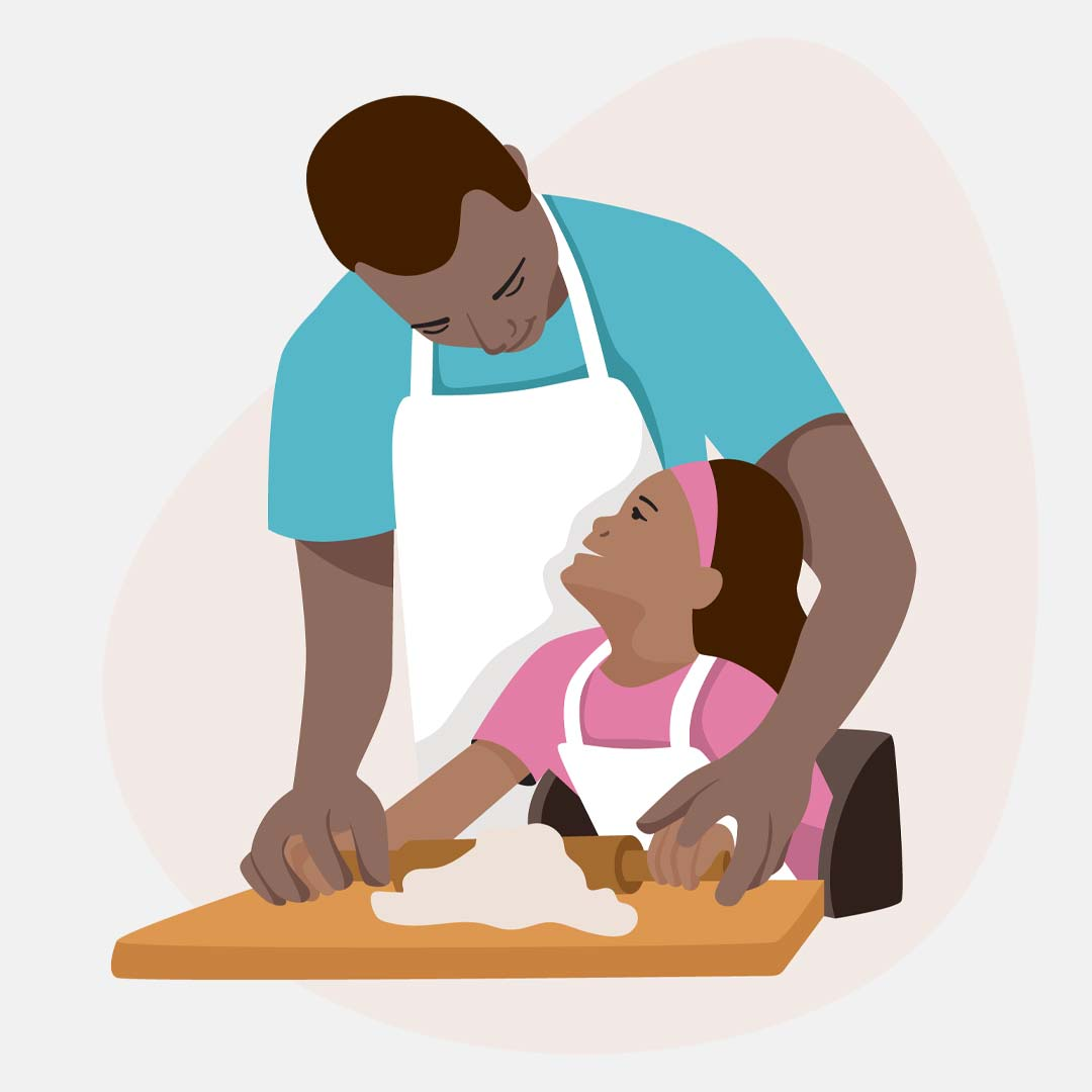 Illustration of a father and daughter cooking together