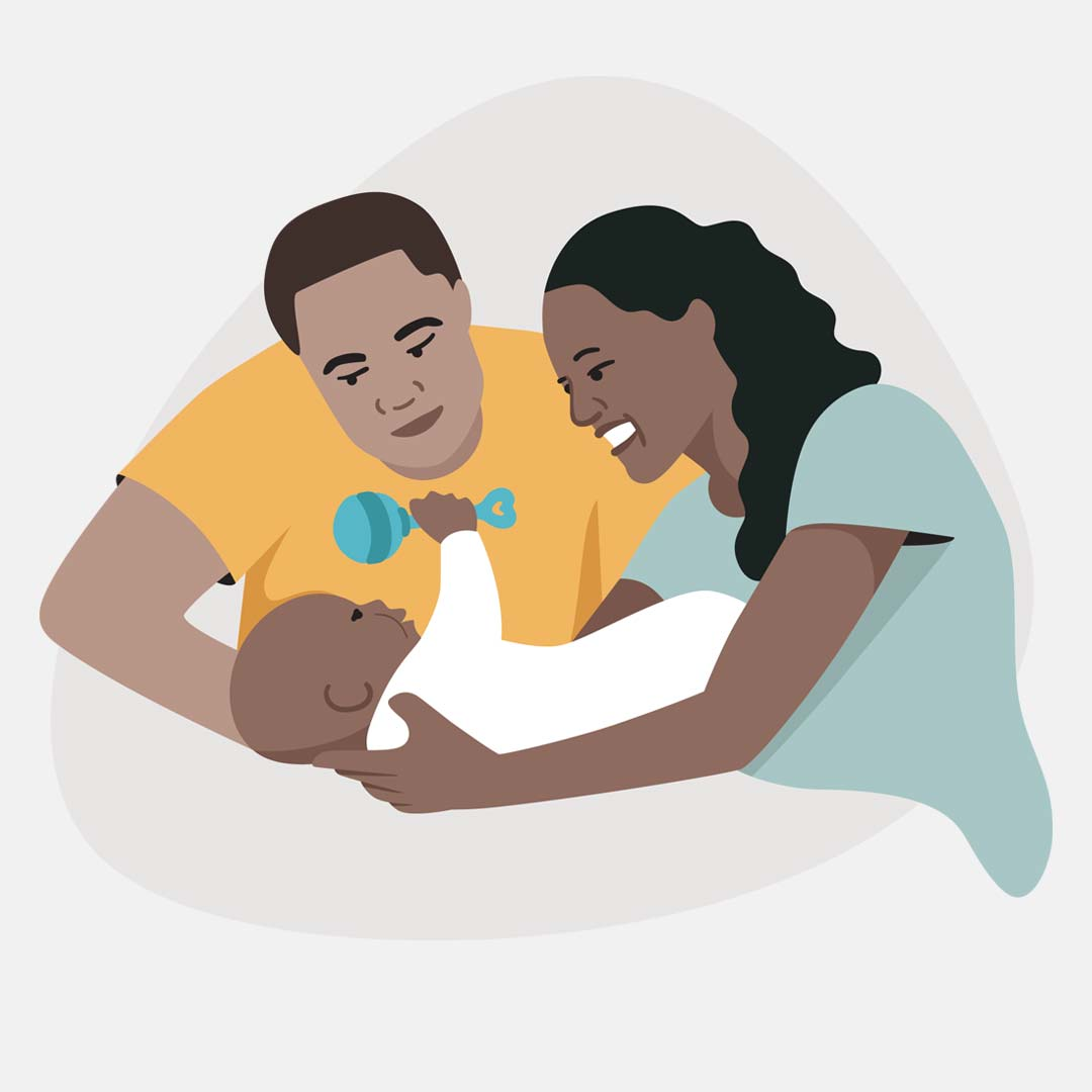Illustration of a father and mother holding a baby with a rattle