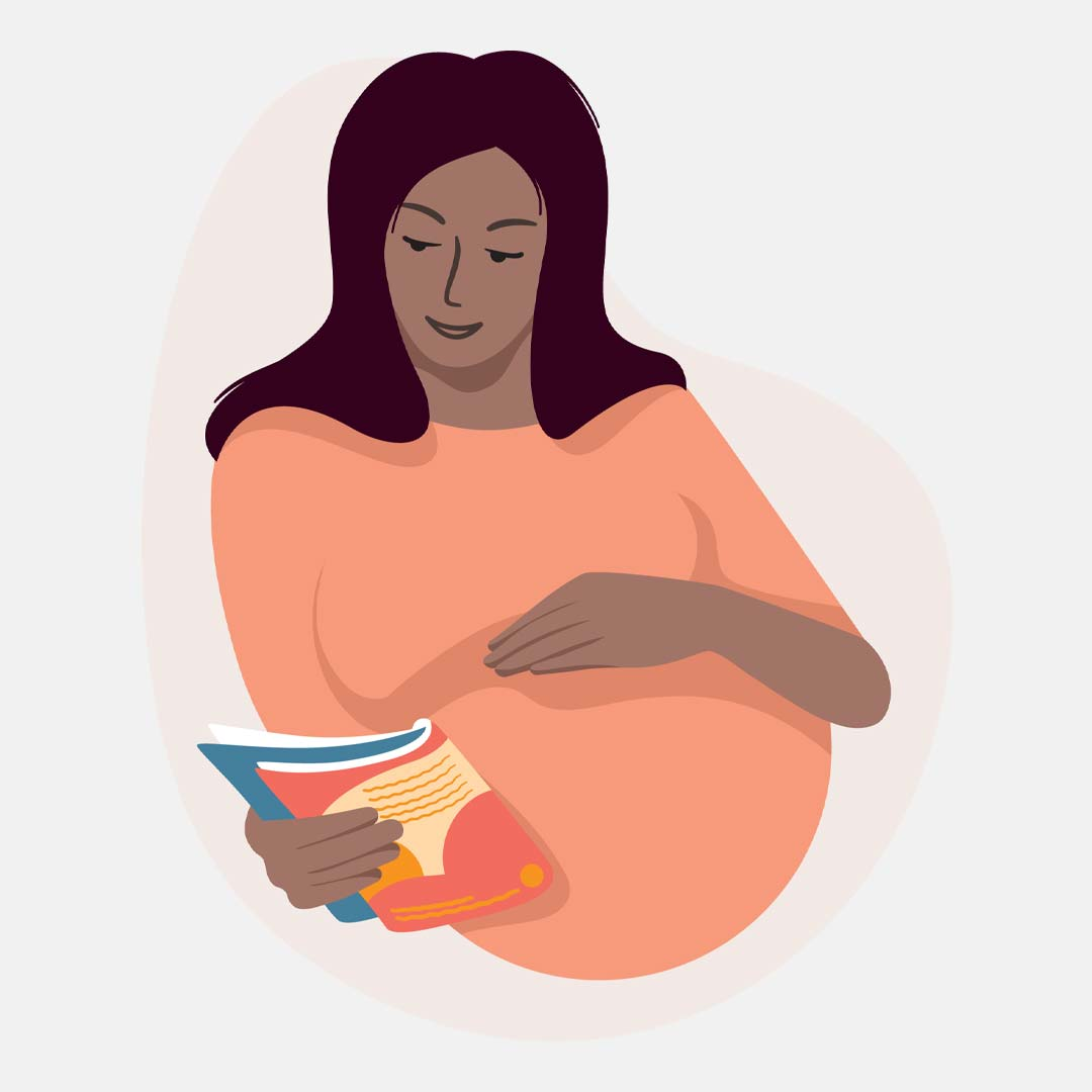 Illustration of a pregnant woman reading a magazine