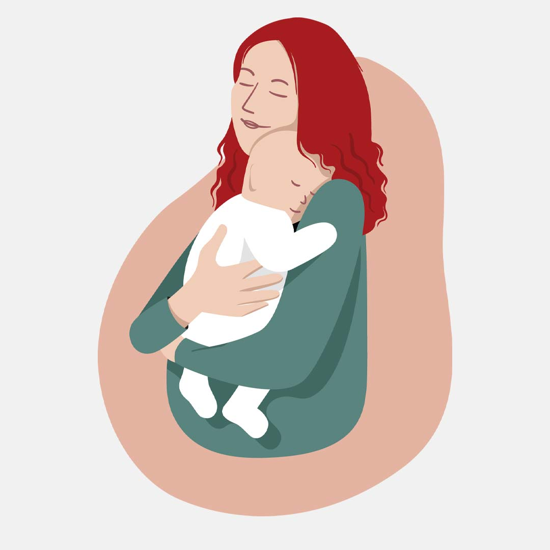 Illustration of a mother and baby in a loving embrace