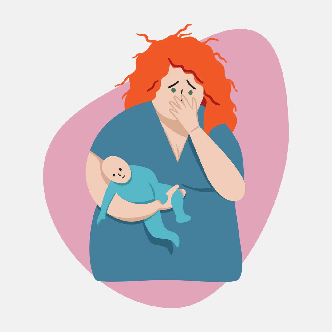 Illustration of a worried mother holding a baby