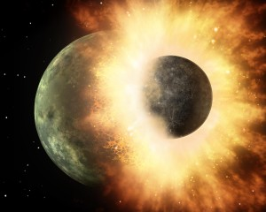 An Artist's Rendering of the Planetoid Collision with Earth
