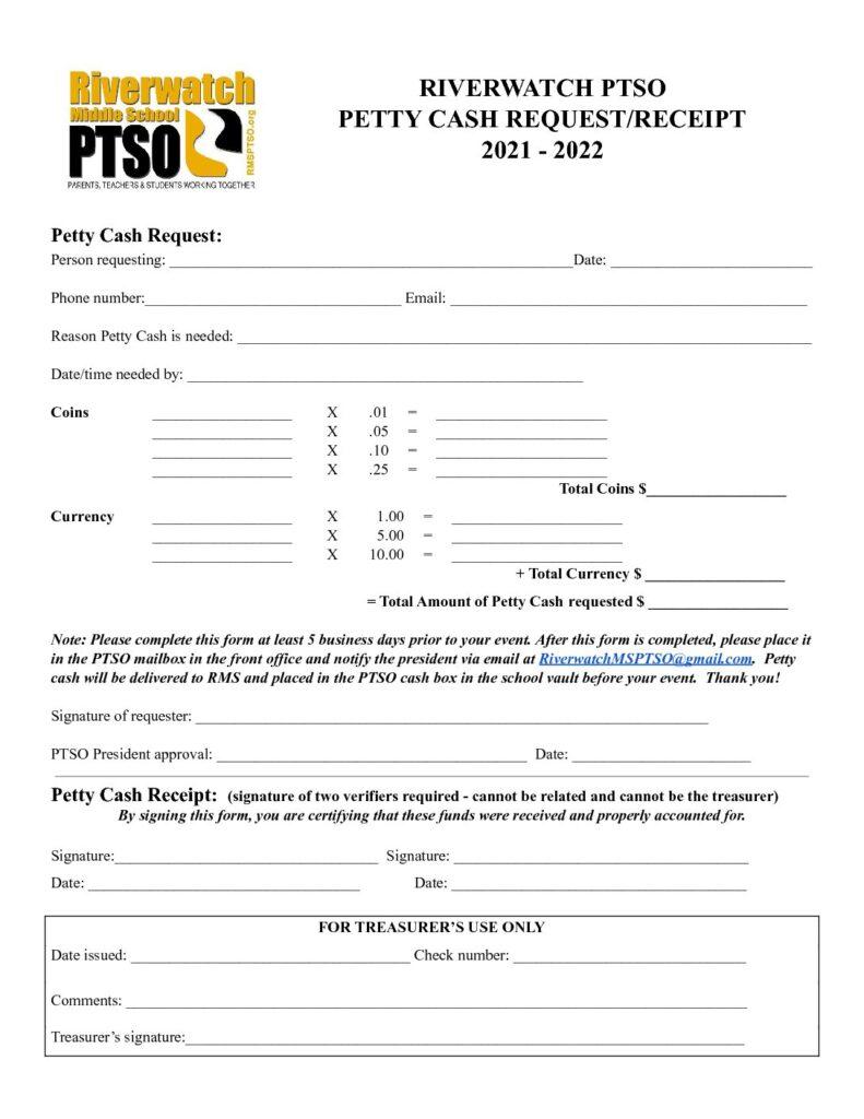 2020-21 PETTY CASH REQUEST/RECEIPT