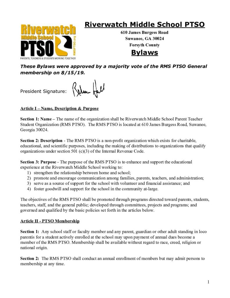 RIverwatch Middle School PTO BYLAWS