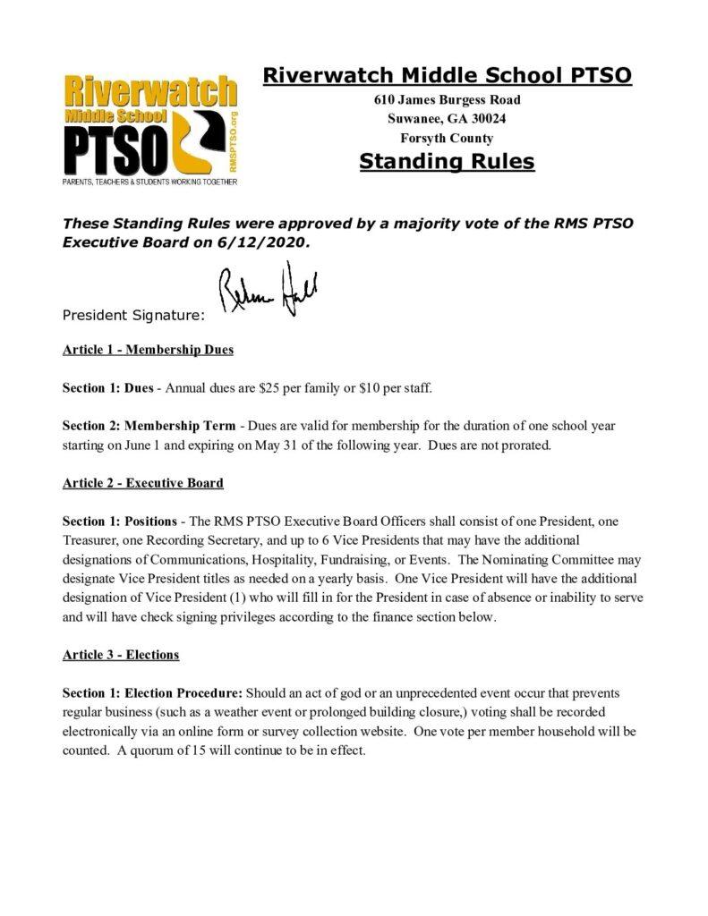 Riverwatch PTSO Standing Rules 6.12.2020