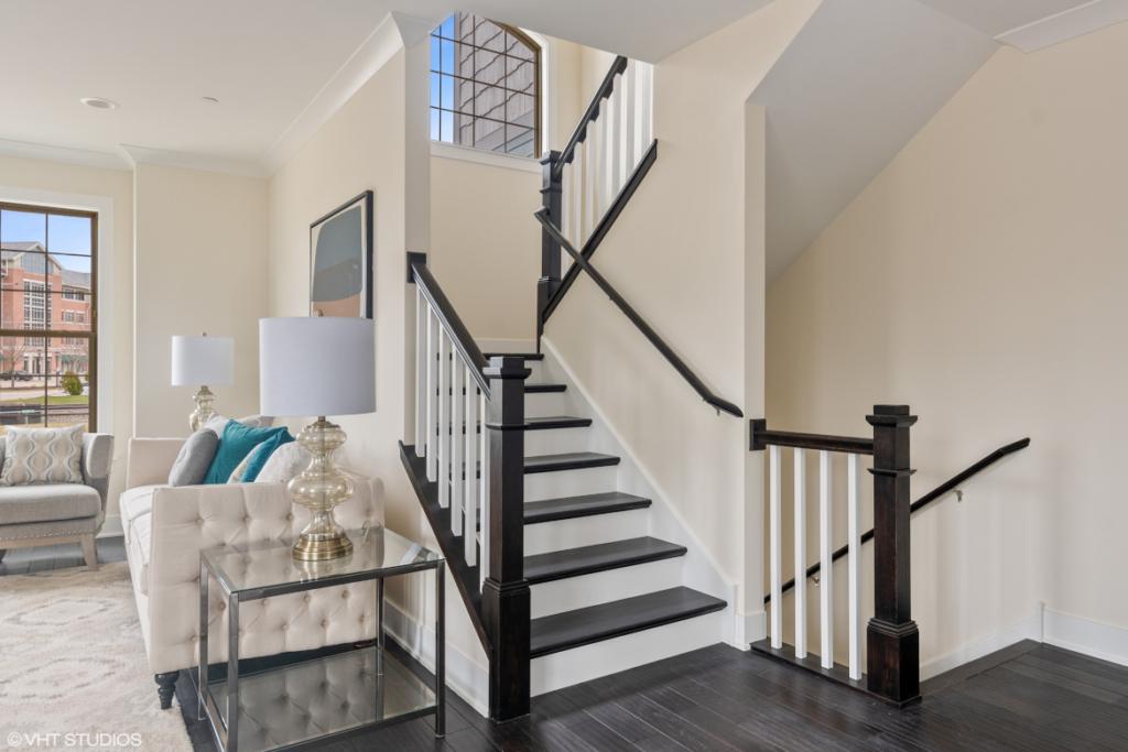 Elm Street Place Luxury Townhome Rentals Deerfield IL - Oak Staircase