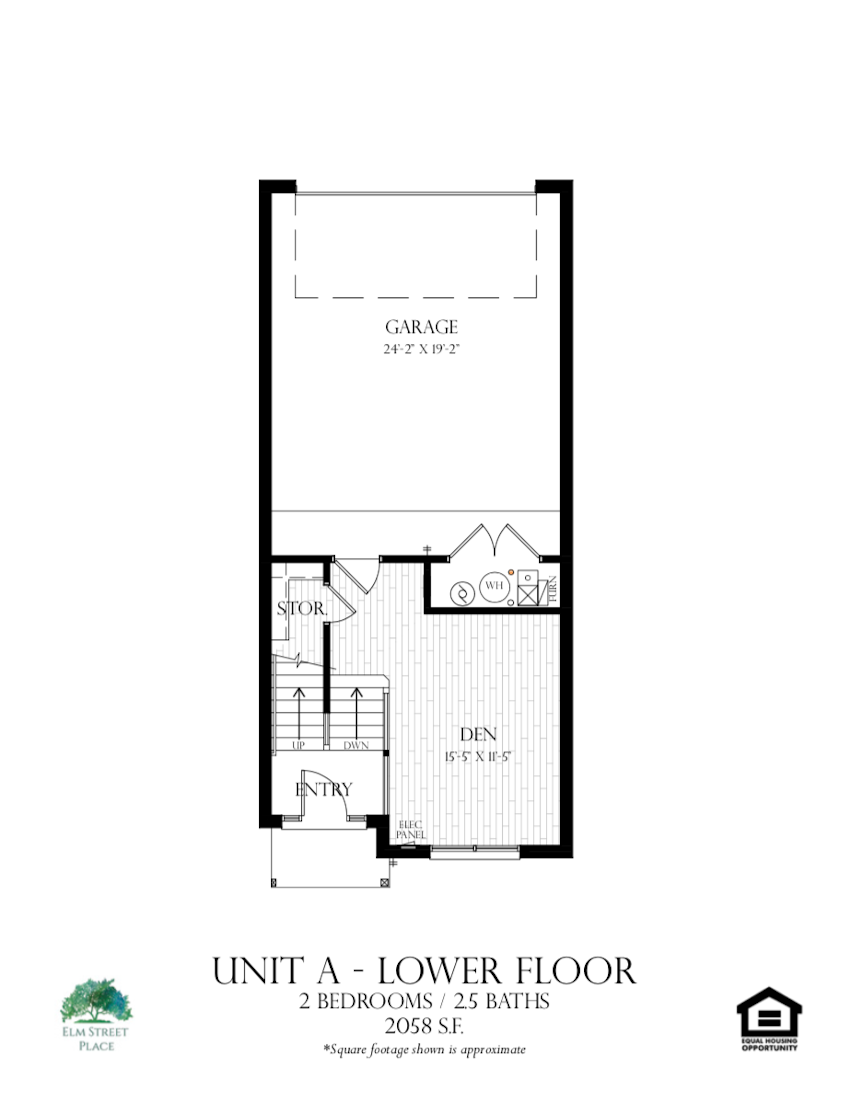 Elm Street Place Luxury Rental Townhomes - Unit A Floor Plan - Lower Level