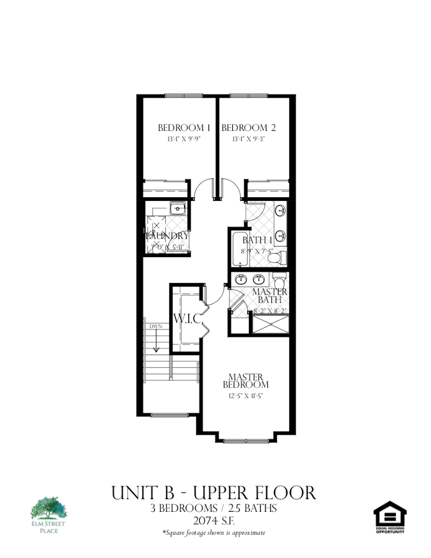 Elm Street Place Luxury Rental Townhomes - Unit B Floor Plan - Upper Level