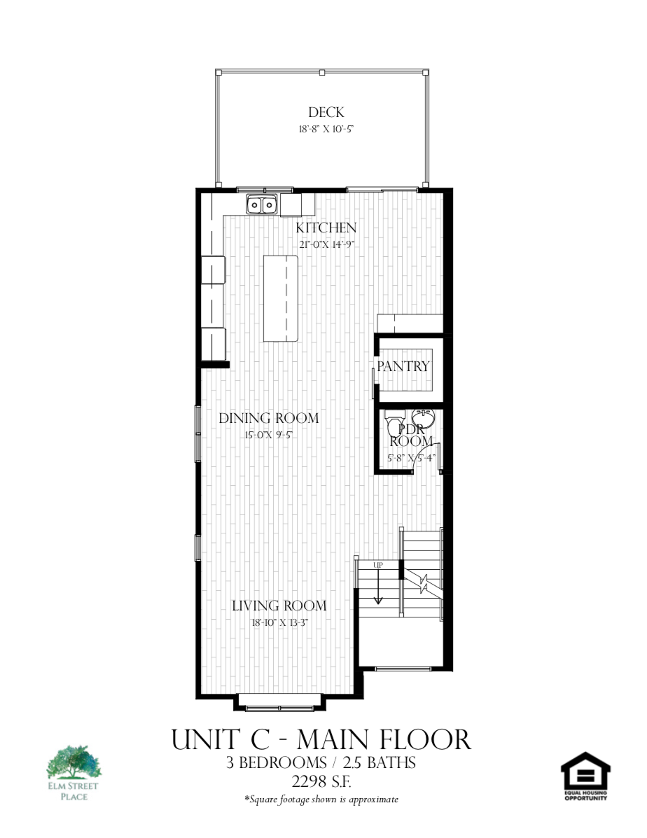 Elm Street Place Luxury Rental Townhomes - Unit C Floor Plan - Main Level