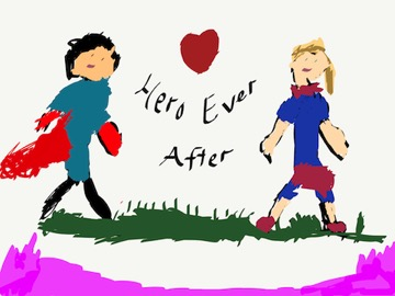 Contemporary Romance Cover for Hero Ever After by Sarah Ready drawn by a child featuring two people in this single mom romance and super hero romance book