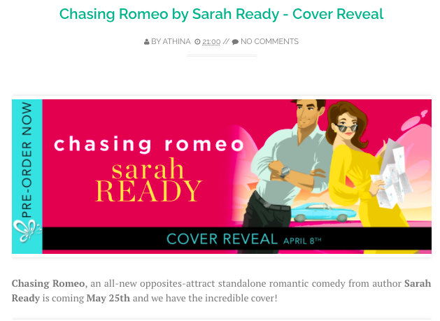 Rom com romance book cover Chasing Romeo by Sarah Ready.