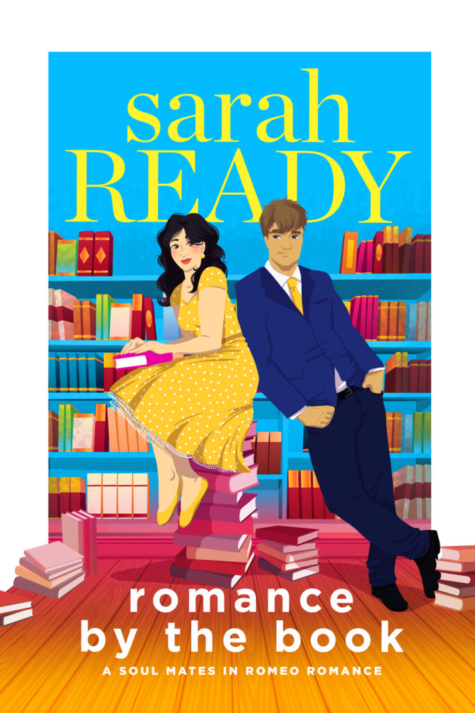 Best romcom soul mate twin brothers romance book titles Romance by the Book features a woman in a yellow dress sitting on top of books with a dapper man beside her.