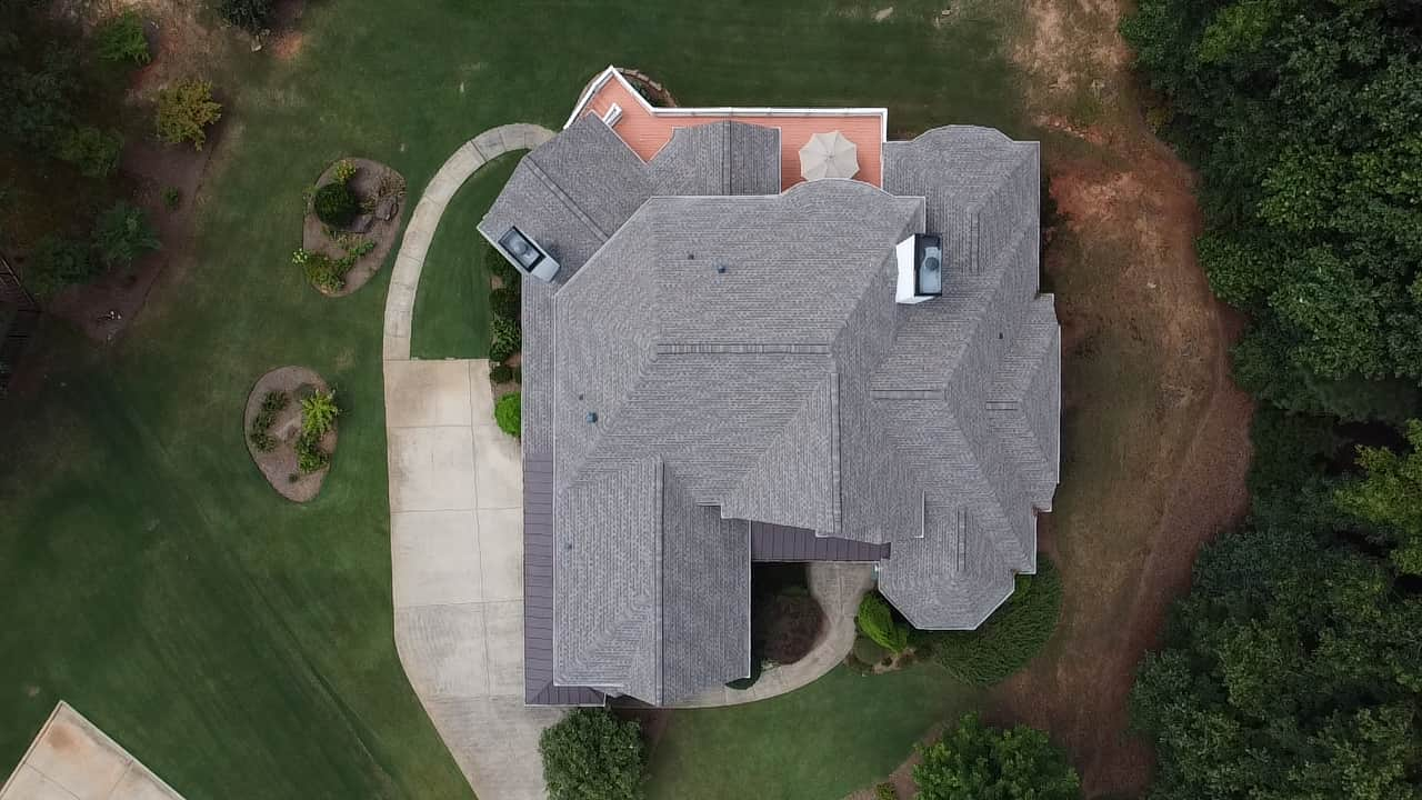 drone photo of a new roof in Georgia