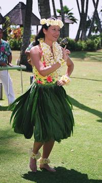 photo of Kanoe Miller in ti leaf skirt