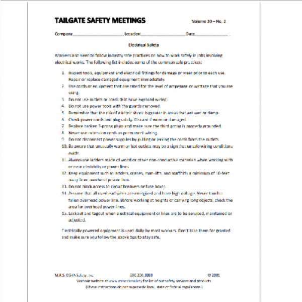 tailgate safety meeting form