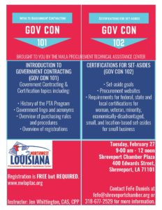 GOV CON 101 & 102: Introduction to Government Contracting and Certifications for Set-Asides @ Chamber Plaza | Shreveport | Louisiana | United States