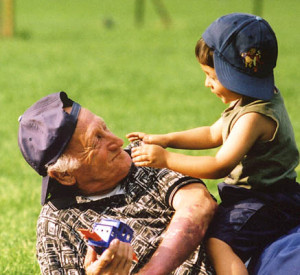 Grampa&Grandson in grass