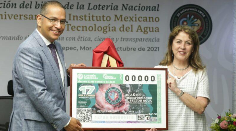 Billete de Lotería Plasma 35 años del IMTA al Cuidado de la Inteligencia Hídrica de México