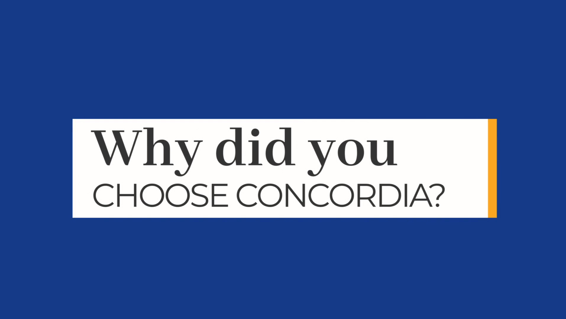 Why Choose Concordia video cover 2021