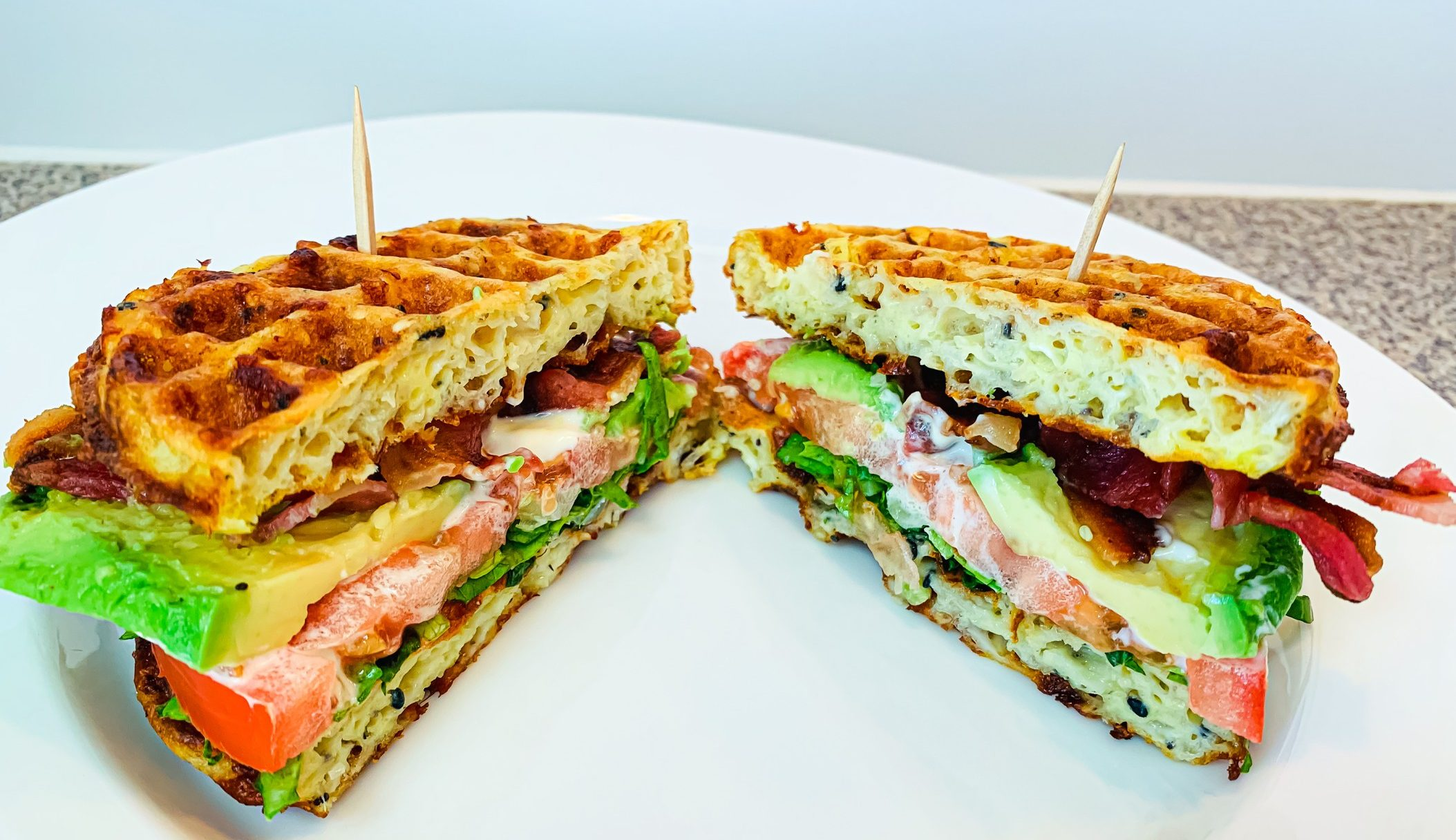 Keto BLT Avocado Chaffle Sandwich