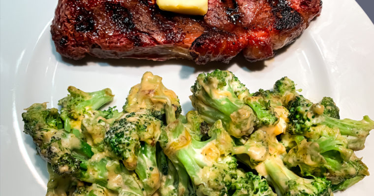 Keto Ribeye Steak with Broccoli and Cheese