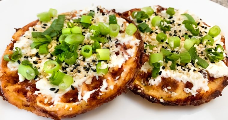 Keto Chaffle with Scallion Cream Cheese