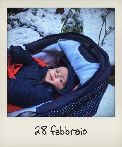 La neve a Roma con bebè