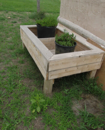 Main picture of solid cedar wood planter box made from hand milled Ontario cedar. Planter has two compartments and is ideal for backyard or balcony.