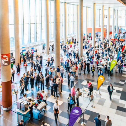 The main foyer at the Melbournce Exhibition & Convention Centre.
