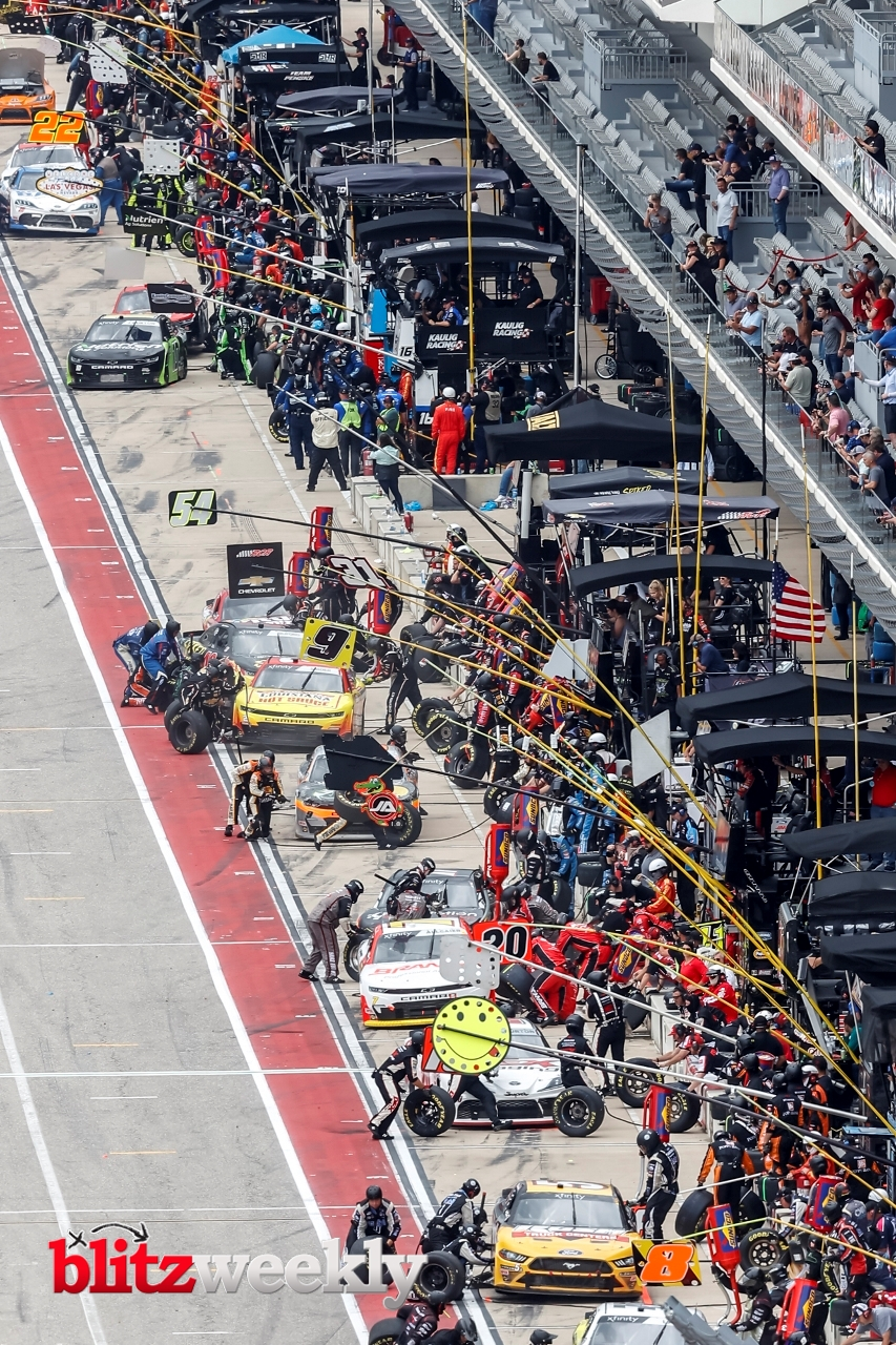 AUSTIN, TX - MAY 22: Xfinity drivers get fuel and tires during the Inaugural Pit Boss 250 NASCAR Xfinity Series on May 22, 2021 at Circuit of The Americas in Austin, Texas. (Photo by Matthew Pearce/Icon Sportswire)