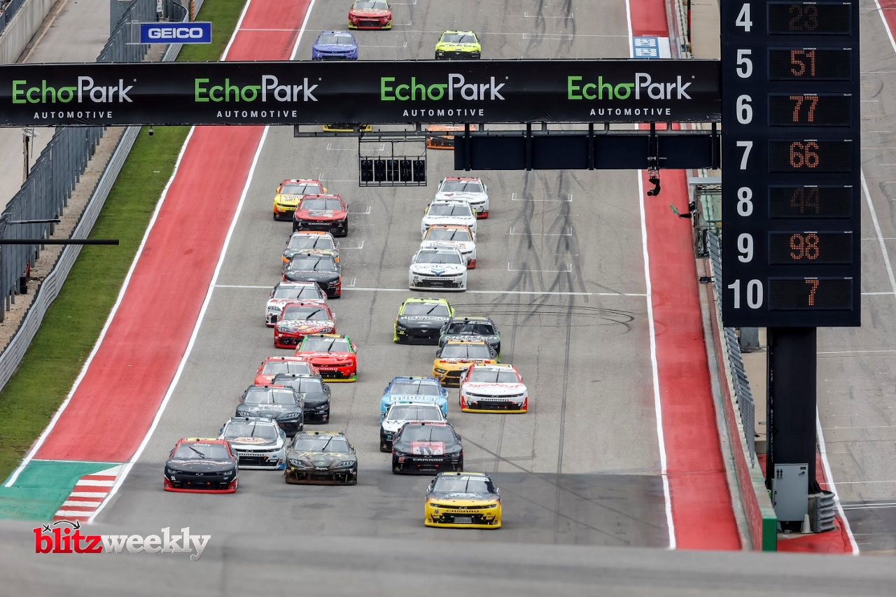 AUSTIN, TX - MAY 22: Drivers race down the front stretch during the Inaugural Pit Boss 250 NASCAR Xfinity Series on May 22, 2021 at Circuit of The Americas in Austin, Texas. (Photo by Matthew Pearce/Icon Sportswire)