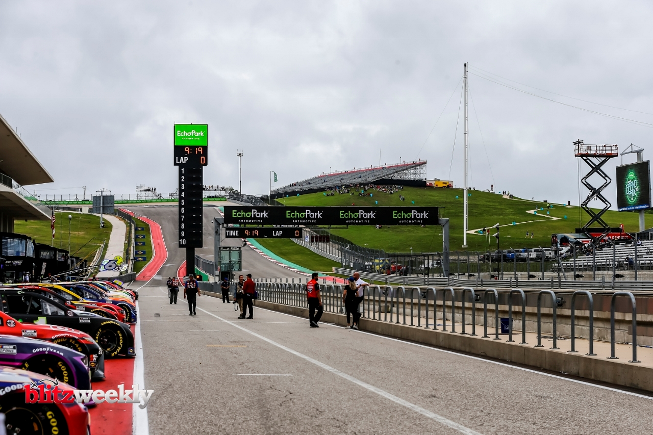 AUSTIN, TX - MAY 23: NASCAR drivers get ready for qualifying for the Inaugural EchoPark Automotive Texas Grand Prix on May 23, 2021 at the Circuit of The Americas in Austin, Texas. (Photo by Matthew Pearce/Icon Sportswire)