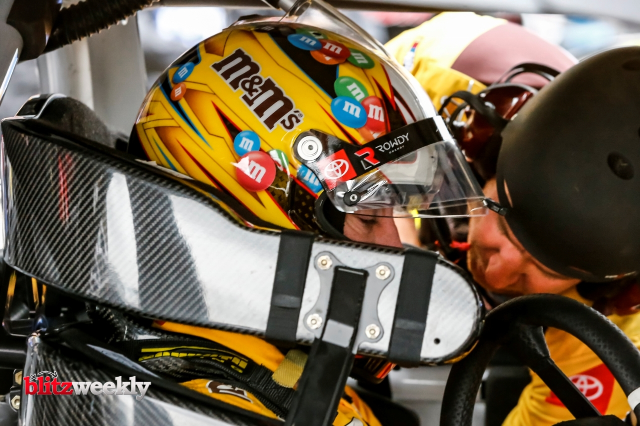 AUSTIN, TX - MAY 23: NASCAR Cup Series driver Kyle Busch (18) gets ready for qualifying for the Inaugural EchoPark Automotive Texas Grand Prix on May 23, 2021 at the Circuit of The Americas in Austin, Texas. (Photo by Matthew Pearce/Icon Sportswire)
