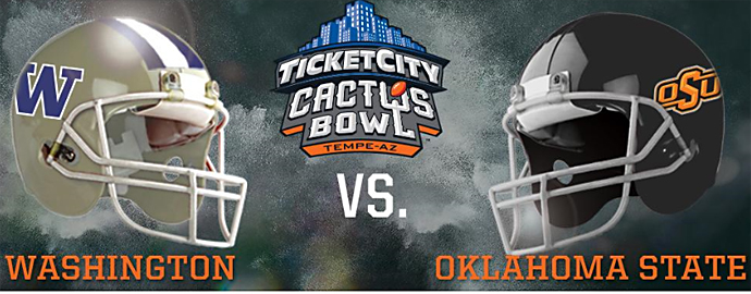 Will a depleted Oklahoma State Cowboys team upset the Huskies? Photo Courtesy: TicketCity Cactus Bowl Twitter page