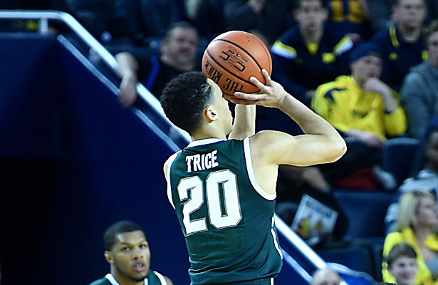 Travis Trice and the Spartans will have their hands full against Louisville on Sunday. Photo Courtesy: MGoBlog