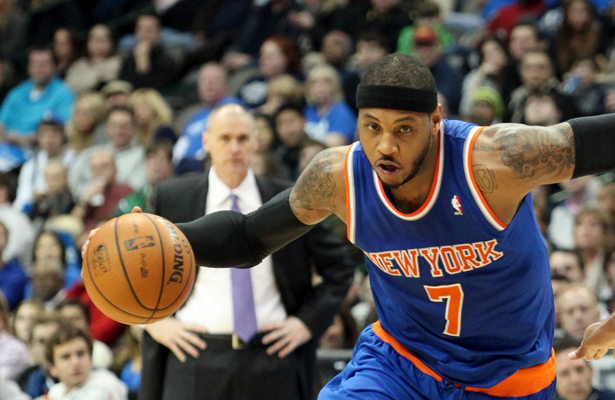 Carmelo Anthony might be unhappy with the front office in New York but he's staying where the money is at. Photo Courtesy: Dominic Ceraldi