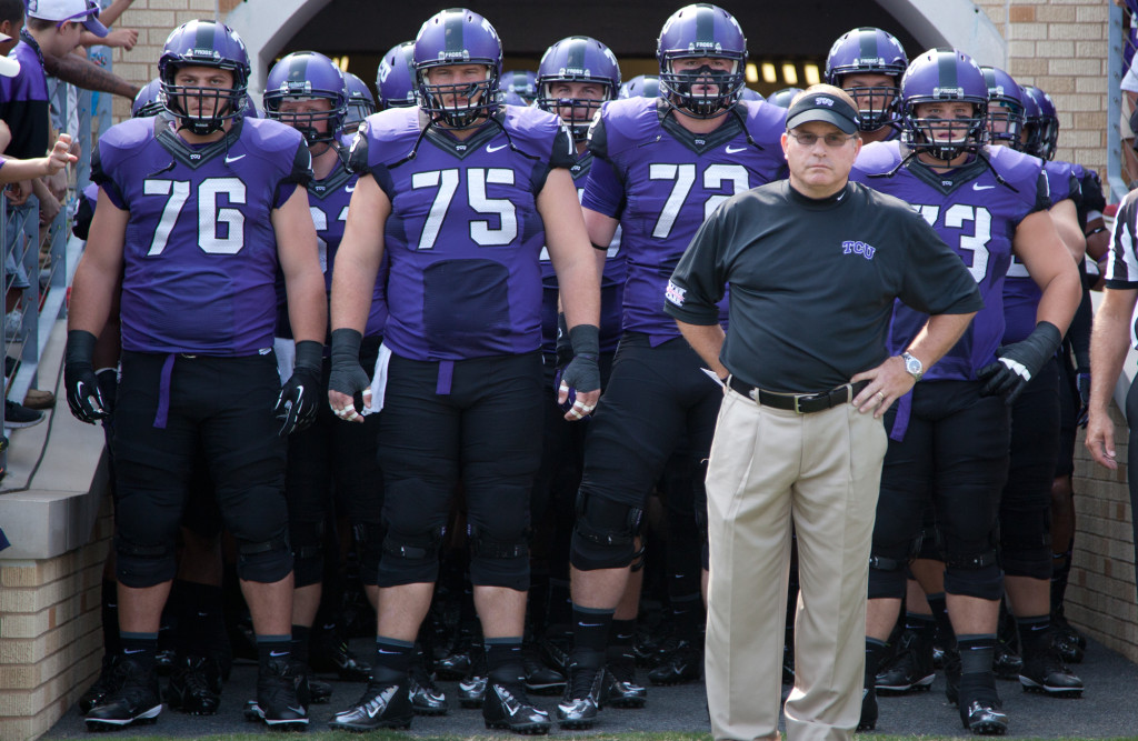 Coach Gary Patterson and the TCU horned frogs look to improve on a successful 2014 but left them out of the College Football Playoff. Photo Courtesy: Kent Gilley