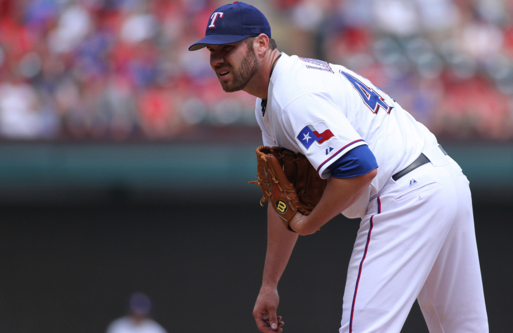 Nearing the last full month of the season, Colby Lewis and the Texas Rangers are currently in playoff position as the second wild card team. Photo Courtesy: Darryl Briggs