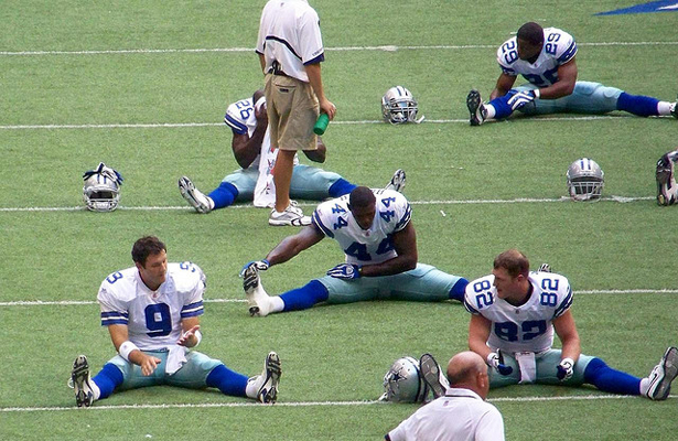 The Dallas Cowboys stretching prior to last night's preseason game with the Minnesota Vikings. Photo Courtesy: Brandi Korte