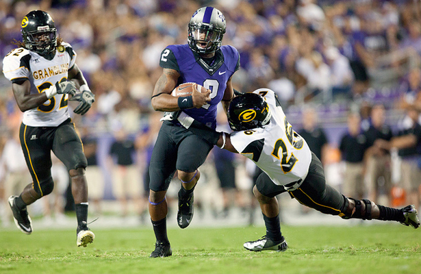 Heisman hopeful Trevone Boykin and the TCU Horned Frogs are of to the races against Minnesota. Photo Courtesy: Kent Gilley
