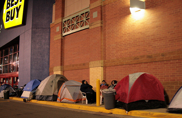 Remember to be a good customer you need to camp out for the best specials! Photo Courtesy: David Haines