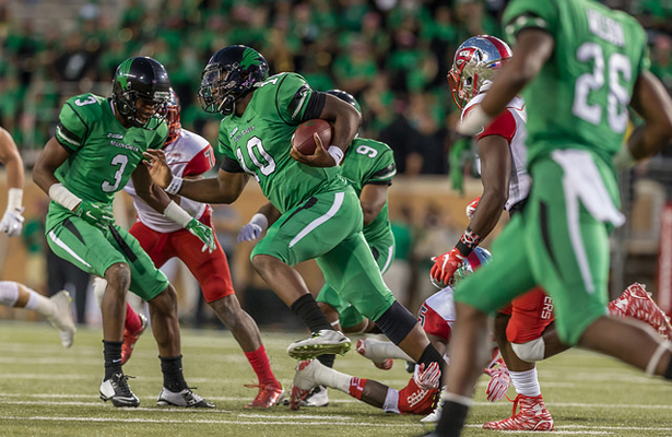 In order to have success on offense for the Mean Green, RB Jeffrey Wilson (10) will need to have a big day. Photo Courtesy: Sandy McAnally